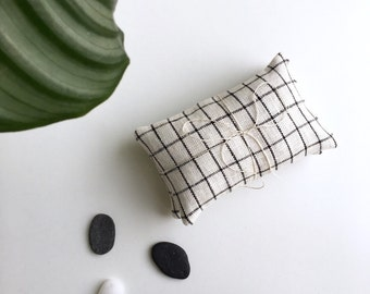 Modern Sachet Set // Grid Pattern // Lavender or Rose Scent // Organic // Natural Linen // Bridesmaid Gift // Black and White