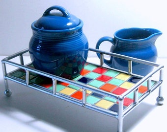 3pc Mosaic Tray Sugar Creamer Set, Retro Color Mosaic Tray with Sugar Creamer, Blue Sugar Creamer Mosaic Tray Set, Handmade Mosaic Tray Set