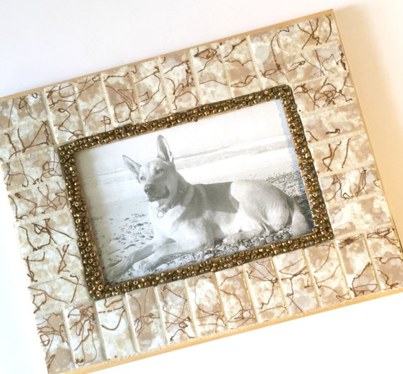 Vintage Tile Frame, Mosaic Frame Vintage Tile, Mixed Media Picture Frame, Mid Century Tile Frame, Brown White Mosaic Tile Picture Frame