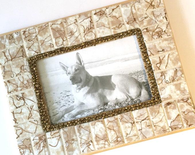 Vintage Tile Frame, Mosaic Frame Vintage Tile, Mixed Media Picture Frame, Mid Century Tile Frame, Brown White Mosaic Tile Picture Frame