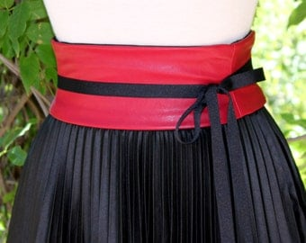 Faux Leather Red Obi Belt Waist Cincher Corset Any Size Lace Up