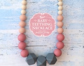 Free Shipping in Canada - Silicone Teething Necklace Baby Teething Nursing Necklace - Grey and Soft Pink