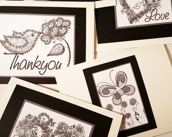 Set of 5 Hand Drawn Greeting Cards