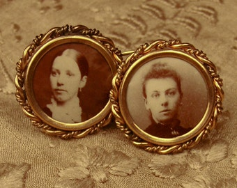 Antique Cufflinks Rose Gold Plate Ambrotype Portrait 1880s