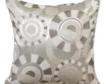 Ivory Pillow Cases 16x16 Couch Pillows Silk Jacquard Patterned Pillow Cover - Ivory Circles