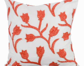 Decorative Throw Pillow Covers Accent Pillow Couch Sofa Bed Toss 16x16 Ivory Silk Pillow Cover Sequins Embroidered Coral Tulips