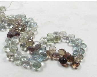OUT Of Town SALE Large Size Rainbow Blue Chocolate Zircon Briolette Beads,  14 Inches, 6mm  6.5mm Blue Zircon Briolette Beads