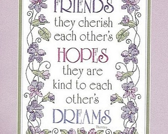 Friends Hopes Dreams Stamped Cross Stitch Kit Sealed