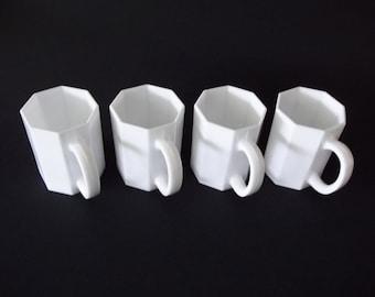 Arcoroc Octime White Milk Glass Mugs, Modern High Gloss Cups, Set of 4, France 1980s