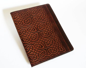 Leather Notebook Cover with Celtic Rope/Knot Design - Fits 5x8 Inch Notepad (Small Legal Pad)