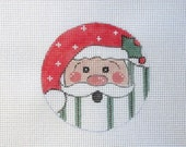 Jolly Fat Santa w/Holly  Handpainted Needlepoint Canvas Ornament