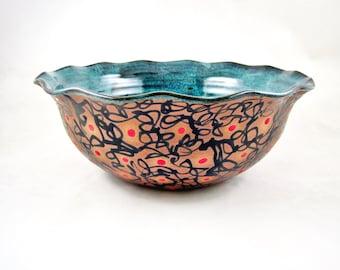 Handmade serving bowl, pottery bowl, Modern ceramics, blue wedding gift - In stock SB057M