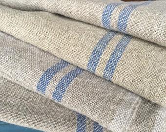 French Linen Hemp tea towels-Blue Stripe