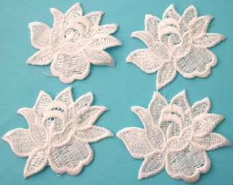 4 Pieces of Embroidered White Color Rose Flower Sew on Patches Free shipping