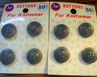 8 French Sweater Buttons, Made in Europe - Button Set - Pewter Buttons - Set of 8 - Nordic Sewing Notions/Button Collection - Accessories