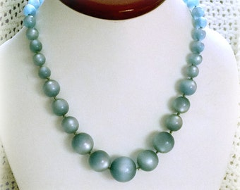 Vintage 1950s Necklace Blue Moonglow Lucite Beads, graduated, hidden sterling clasp