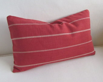 Rustic Woven red in cream stripes  decorative lumbar pillow with insert 12x20