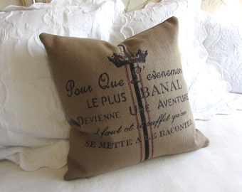 French Country CREST pillow 20x20 22x22 inclided insert burlap color
