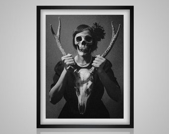 Creepy Woman - with a stag skull vintage black and white strange  modern needlecraft  pdf cross stitch pattern  INSTANT DOWNLOAD