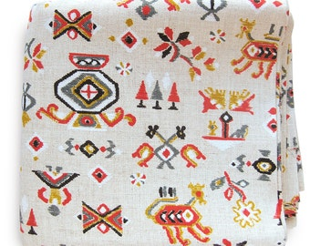 Vintage Tribal Print Fabric in Red Blues and Gold Gold / Screen Print Fabric Linen Look Ikat Style Yardage