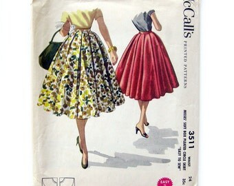 1950s Vintage Sewing Pattern - Full Circle Skirt with Soft Box Pleats / Rockabilly Style Skirt / McCall's3511 - 24 Waist