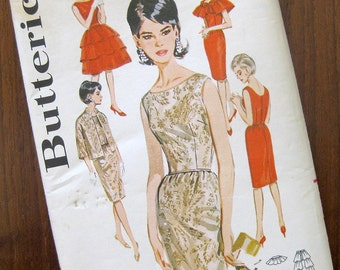 1960s Vintage Sewing Pattern - Wiggle Dress - Over Skirt - Capelet - Butterick 2460 / Size 16
