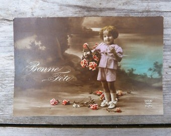 Vintage  Antique 1900 French recolored photography postcard