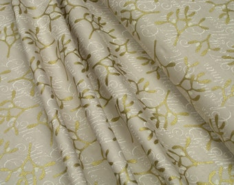 CPF Fabrics Misteltoe Misteln beige / gold glitter 0.54yd (0.5m) 002932