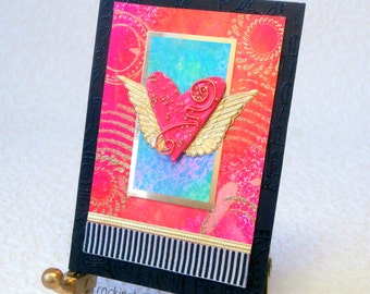 Mixed Media Art, ACEO or ATC, Alis Volat Propriis (She Flies With Her Own Wings), flying heart collage