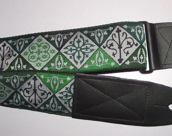 Green Renaissance/Celtic Pattern Embroidered Trim GUITAR STRAP