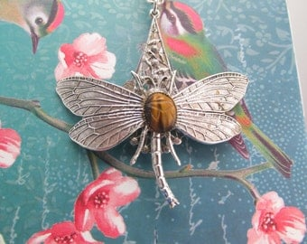 Tiger Eye Dragonfly necklace Vintage silver dragonfly necklace Genuine scarab carved stone dragonfly Necklace