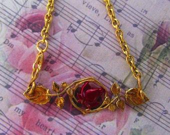Red Rose Necklace Vintage necklace Bronze Unique Necklace Simple necklace Red Rose Romance Necklace
