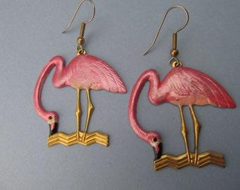 Pink Flamingo Earrings Dangle Earrings Pierced Nautical earrings vintage Bird dangle earrings