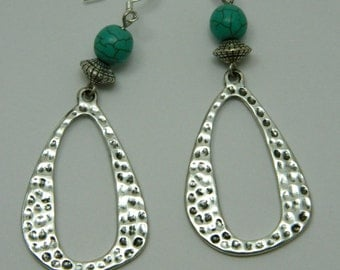 long turquoise and silver earrings