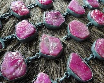 SEMI-ANNUAL SALE Raw ruby bracelet | Natural ruby bracelet | Rough ruby bracelet | July birthstone bracelet | Ruby silver crystal bracelet |