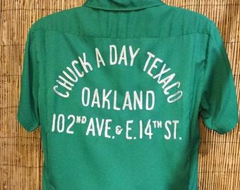 Vintage 1950's green gabardine bowling shirt