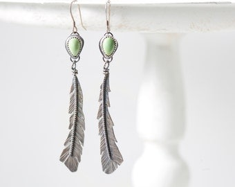 Green Turquoise feather earrings 3 inches long OOAK handmade hand fabricated sterling silver long dangle southwest turquoise earrings