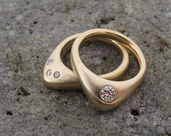 14kt recycled gold and diamond Ascent rings, paired engagement and wedding band with gypsy set flush set diamonds