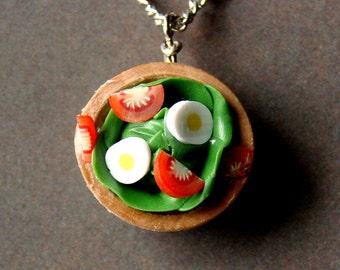 Fun Miniature Fake Food Jewelry - Sassy Tossed Salad Necklace