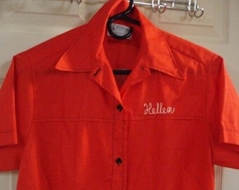 Vintage 50s GABARDINE Women's Embroidered Bowling Shirt Swing Rockabilly