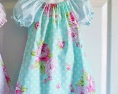 CLEARANCE - Last One! - READY to Ship - size 2/3 - Girls BLUE Ruffled Peasant Dress and flower clip - Roses and Mums - Rosey collection