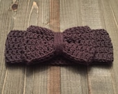 Toddler Bow Head Wrap in Taupe - Ear Warmer - Turban - Headband