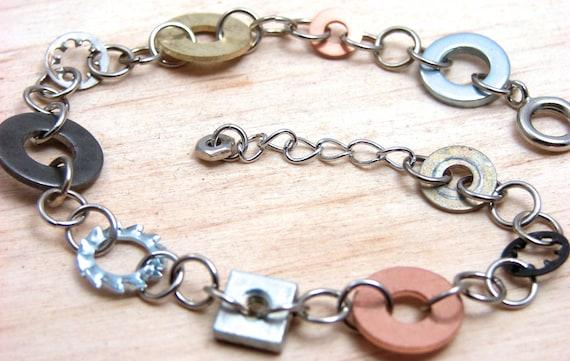 Chain Bracelet Mixed Metal Hardware Jewelry Industrial Eco Friendly