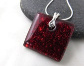Custom for Starla:  Garnet Red Fused Glass Necklace - Simple, Modern, Colorful