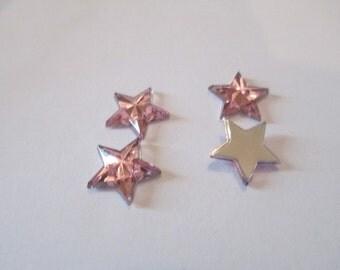 50 Pink Star Resin Flat Backs