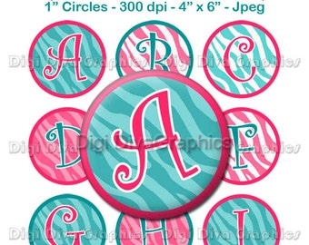 Zebra Print Alphabet Bottle Cap Images 1 Inch Circles Digital JPG A-Z - Instant Download - BC1060