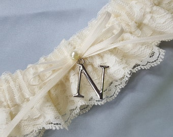 Ivory Lace Bridal Garter Personalized Elegant Pearl Accent Wedding Garter