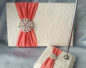 Ivory Lace Coral Wedding Guest Book and Pen Set Ivory Bridal Lace Pearl Rhinestone Accent Unique Latte