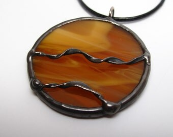 Caramel Drizzle - Stained Glass Pendant with Black Cord