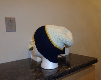 Blue, yellow and ivory slouchy hat